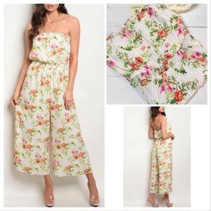 Pants - Floral Peach Stripe Jumpsuit